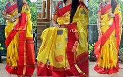 Red and Yellow Kuppadam handloom silk saree with allover small checks and musical instruments .
