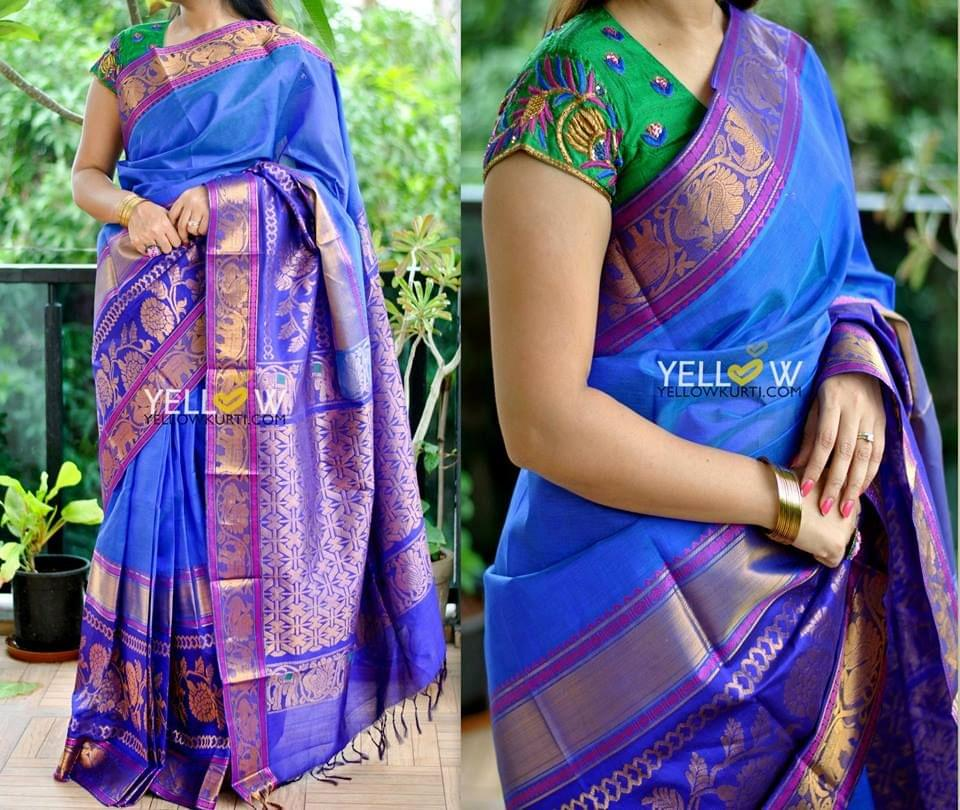 Shades of Blue Kuppadam handloom silk saree with golden border highlighted with Pink
