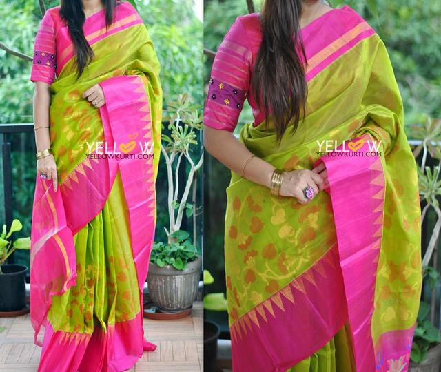 Green and pink Kuppadam handloom silk saree with temple border and creepers