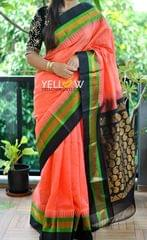 Peach Kuppadam handloom silk saree with black and green temple border