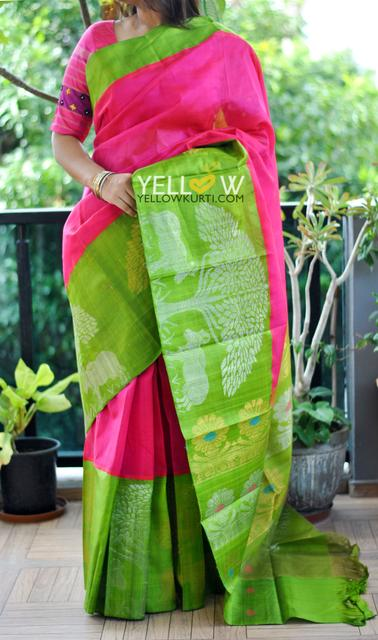 Pink Kuppadam handloom silk saree with parrot green border