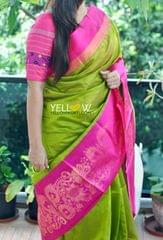 Olive green Kuppadam handloom silk saree with Pink border zari woven with golden creepers