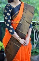 Orange Kuppadam handloom silk saree with rich golden zari black border