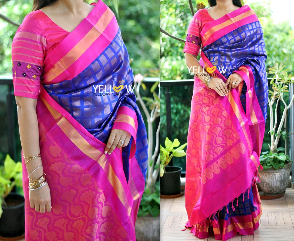 Blue Kuppadam handloom silk saree with pink border and allover zari blocks