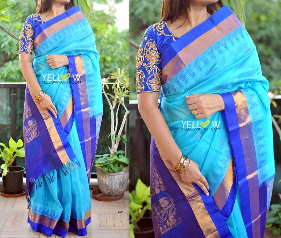 Blue Kuppadam handloom silk saree with temple border