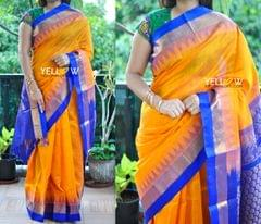 Mustard Kuppadam handloom silk saree with temple border