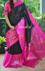 Black Kuppadam handloom silk saree
