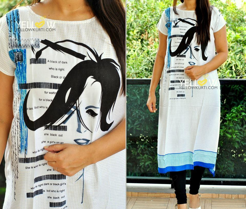 Soft printed Rayon Kurti available