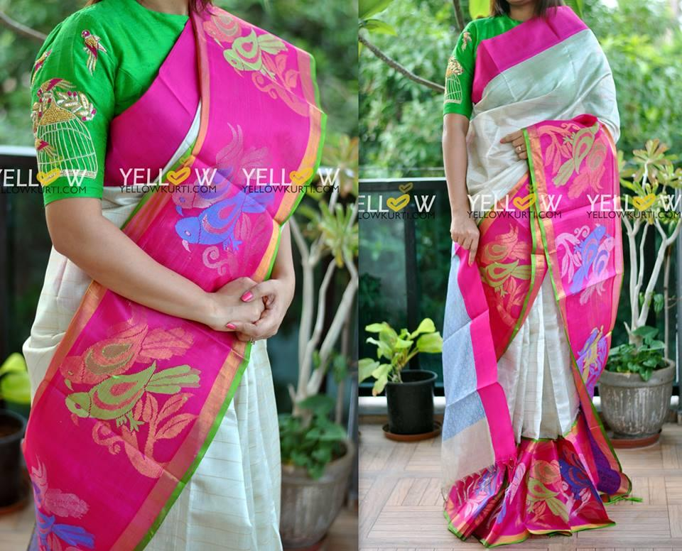 Offwhite Pure Silk Tissue saree with golden zari checks allover with pink parrots border .