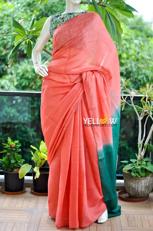 Plain peach Linen saree with teal colored Pallu