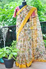 Creepers and birds printed Organza saree with yellow Border