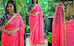 Hot pink shaded chiffon Saree with gold border running all through the saree.