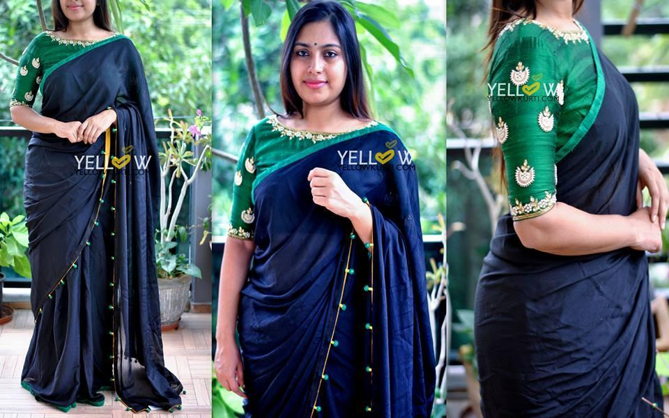 Black chiffon Saree with bottle green Highlights and knotted edges