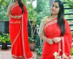 Red chiffon Saree with floral mirror border running all through the saree