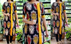 Kalamkari Silk face printed Kurti with rawsilk highlights .
