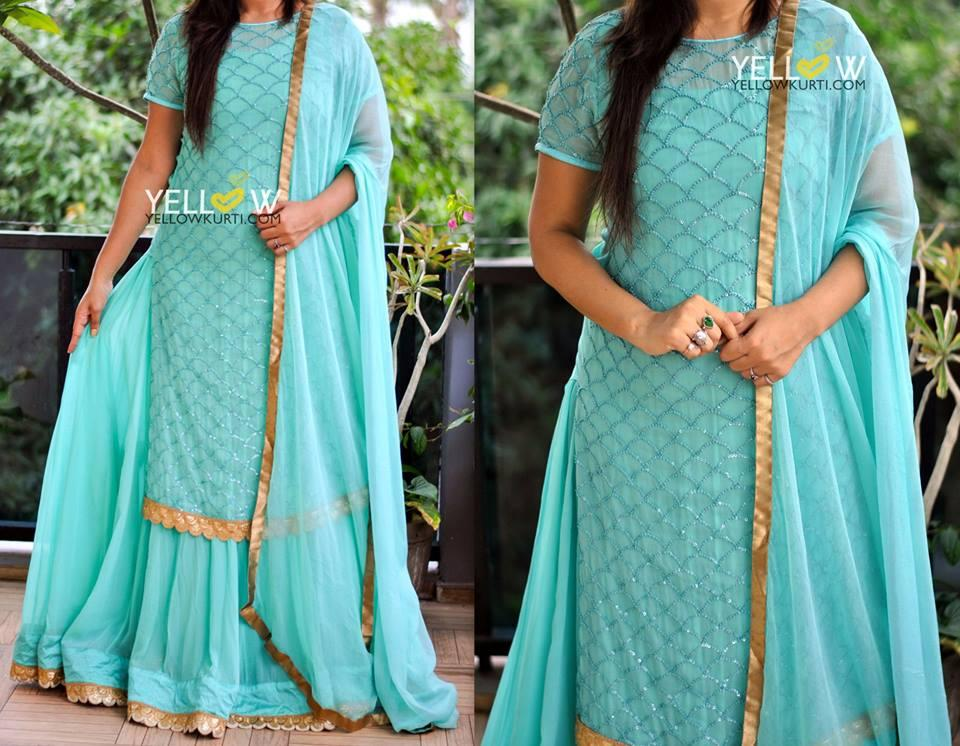 Sea green georgette sequin worked overlay on plain sleeveless and full flared georgette gown teamed up with plain georgette dupatta for simplicity lovers