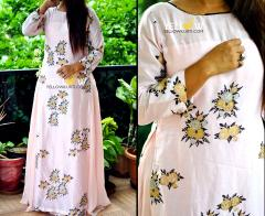 Georgette Long Kurti with Floral Printed Muslin Cotton Layer highlighted with golden bead work