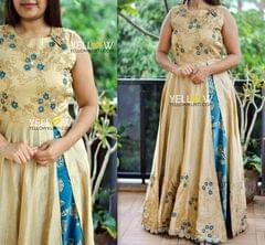 Rawsilk embroidered layered long gown in biege and teal combination