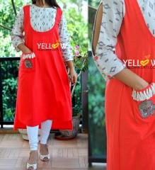 Cotton and Ikkat Fusion Kurti
