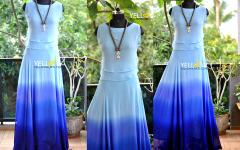 Blue Georgette shaded Skirt with layered Croptop