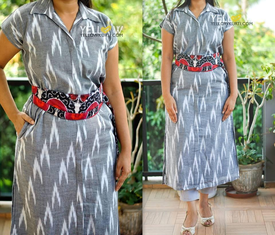 Ikkat long collared straight fit Kurta with tie up printed belt , side cuts and frint slit