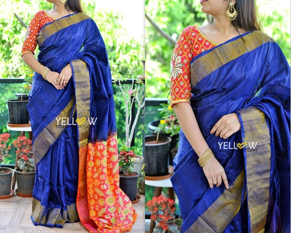 Handwoven Dupion silk saree in Navy blue with antique Golden border and Pallu in orange pink shaded Ikkat weave
