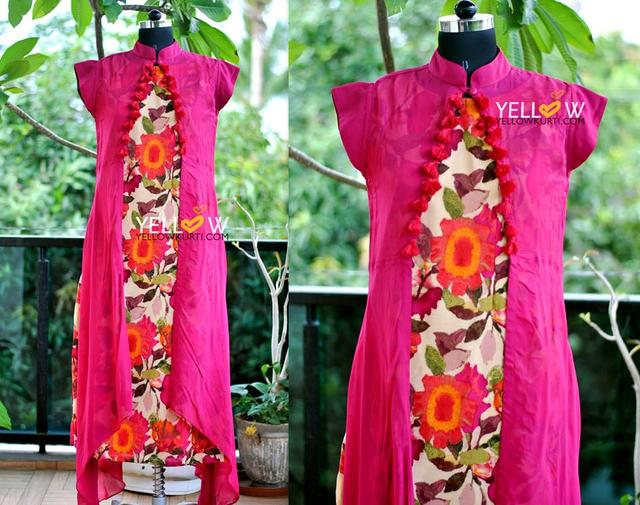 Long straight fit floral printed kurti (no side cuts) with georgette tassled asymmetric cape (side cuts)
