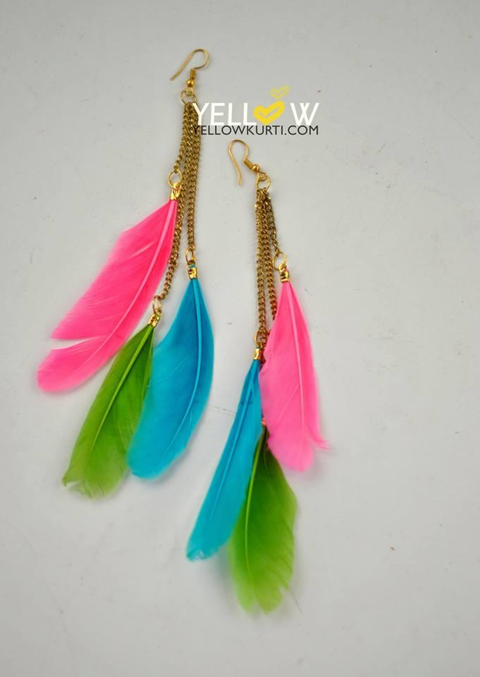 Multicolored feather hangings