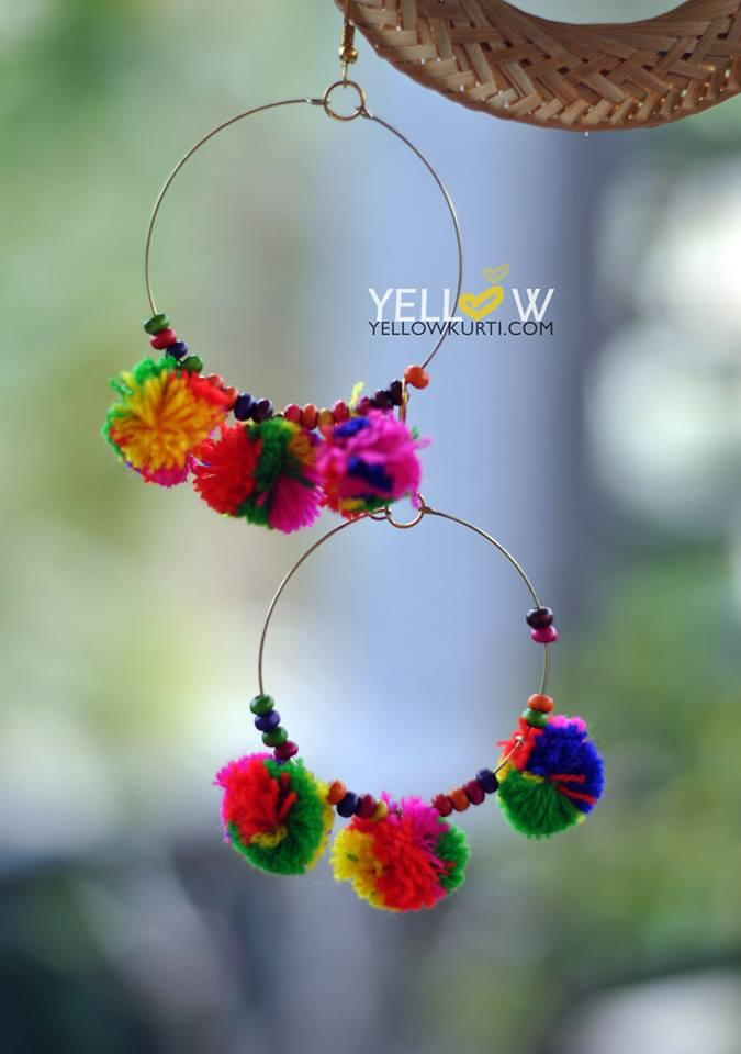 Colorful and light weight Hoops with beads and pom poms