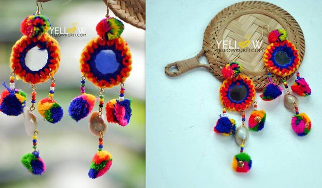 Colorful and light weight woollen hangigns with mirror and sea shell