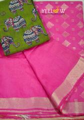 Pink Kota viscose Saree with plain gold border and gold motifs all over the pallu .