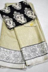 Soft Semi Tussar Silk kalamkari saree with black cotton faces printed kalamkari blouse material