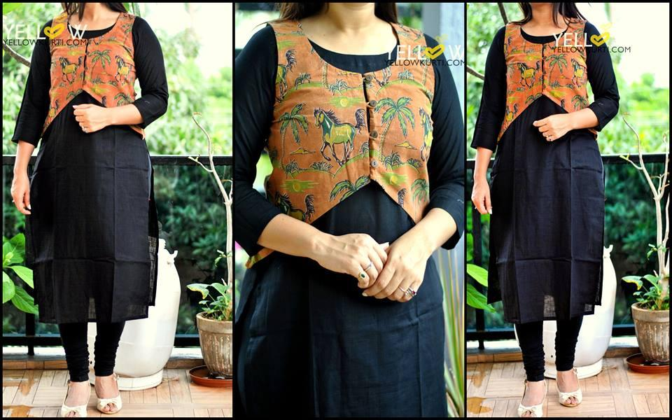 Plain black cotton Kurti (side cuts) with brown printed overcoat - nature theme - detachable
