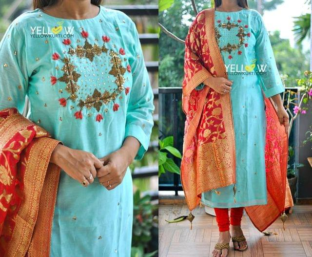 Chanderi Silk Kurti with heavy handworked embroidery with antique gold sequins allover the Kurti .