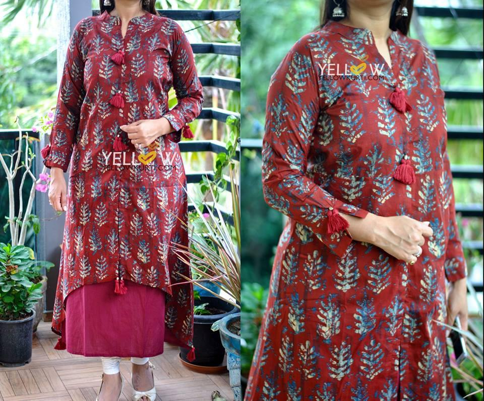 Cotton double layered Kurti with printed overlay and tassels