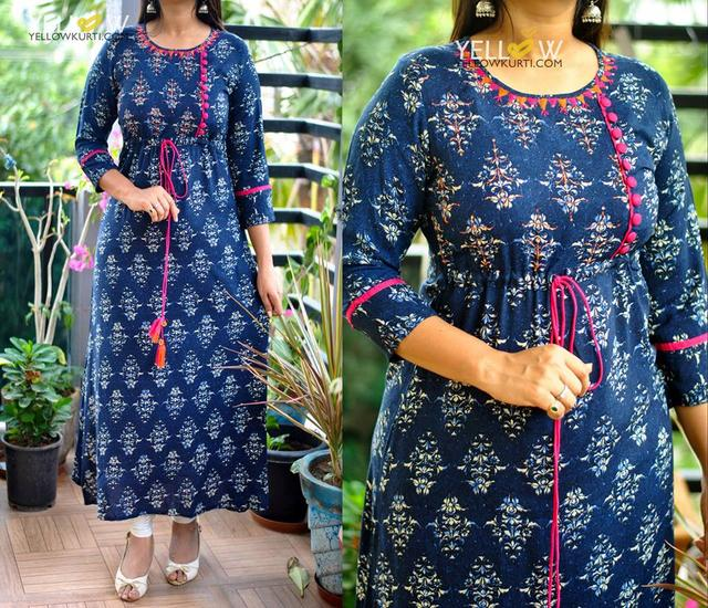 Rayon Indigo Kurti with pink and orange highlights .No Side cuts.