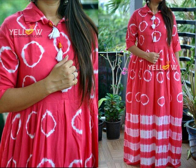 Rayon Long gown with tie and dye print with pocket