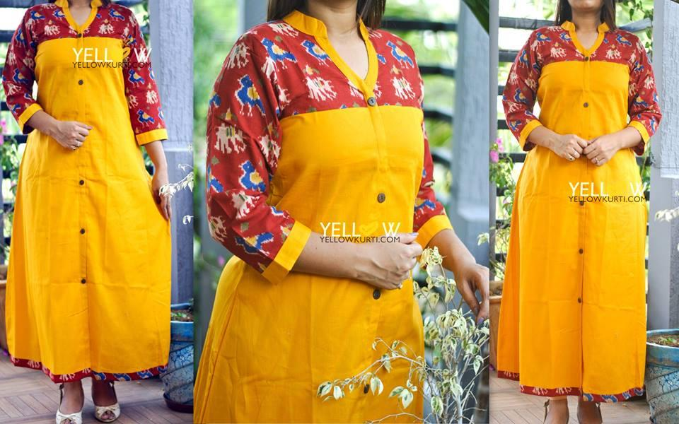 Yellow Kurti with Ikkat printed yoke