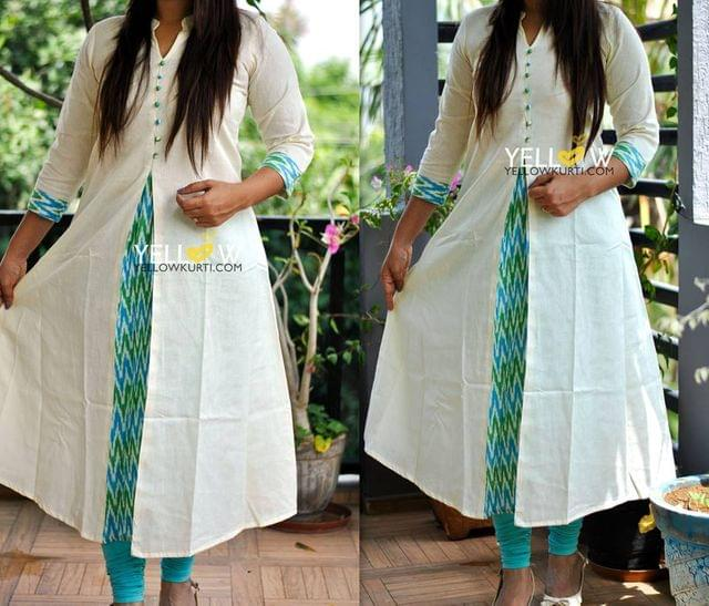 Off white Kurti with Ikkat Highlights
