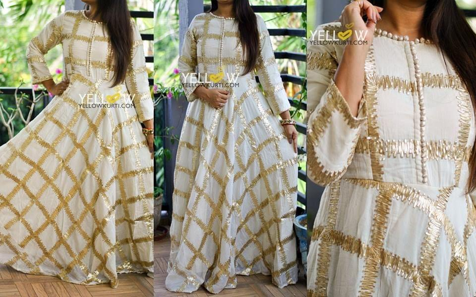 Long cotton gown with heavy gota work