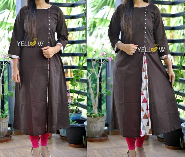 Cofee colored Cotton Kurti with printed highlights