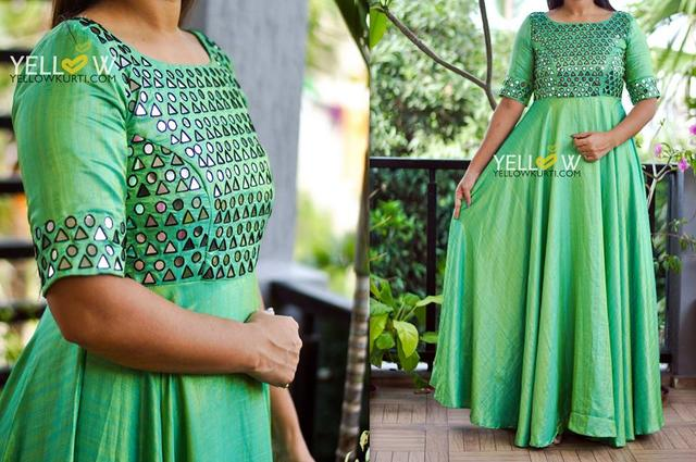 Long gown in Matka silk dual shaded with mirror work allover the Yoke and sleeves