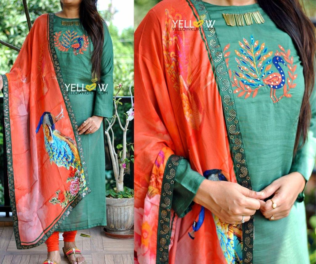 Bottle green Muslin silk stright fit Kurti with peacock embroidery and delicate digital printed muslin dupatta