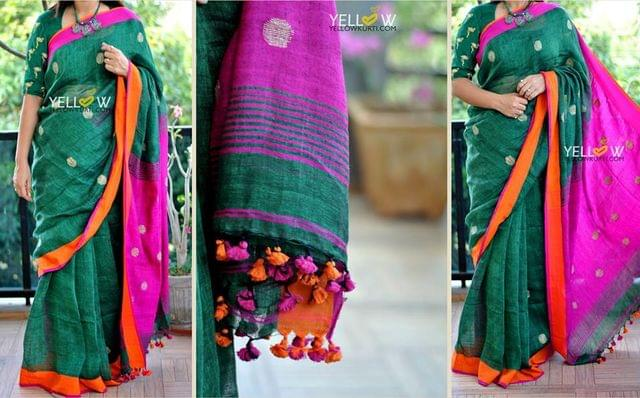 Bottle green Linen saree with biege woven dots and contrast Pallu