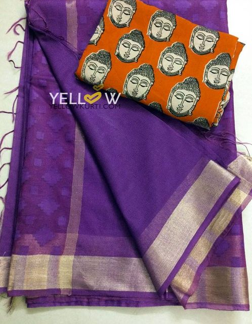 Purple Kota saree with self embroidered Organza Pallu and gold border