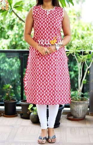Printed Kurti with white piping.Sleeves available