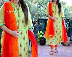Chanderi silk allover thread work Kurti with dual shaded Chiffon dupatta
