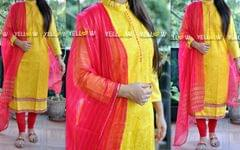 Yellow Self threadwork Kurti with pink zari stripes dupatta