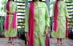 Chanderi silk allover sequin work Kurti with pink net dupatta