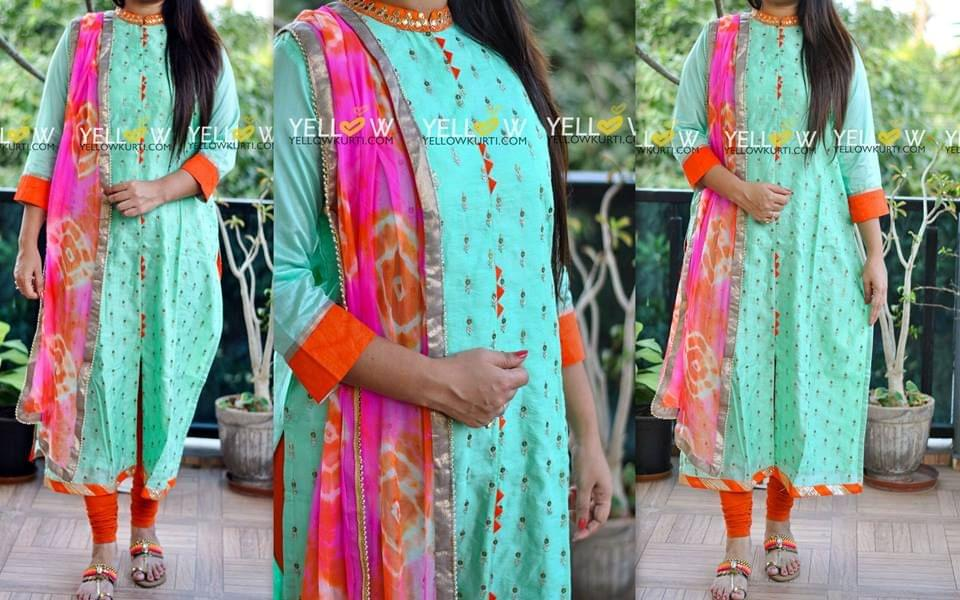 Sea green Kurti with allover sequins work and front slit teamed up with Bandhini georgette Dupatta . Bottom not included